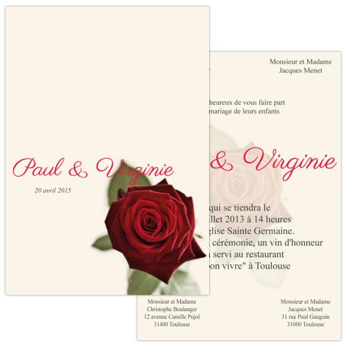 Faire-part Rose Rouge