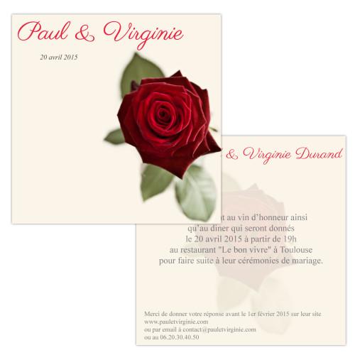 Invitations Rose Rouge